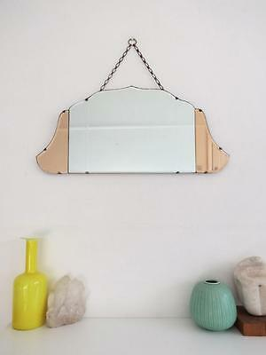 Vintage Art Deco Bevelled Mirror Colored Glass Details