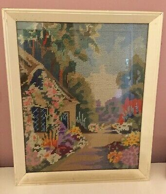 Vintage Retro Framed Tapestry Cottage Garden - can quote postage