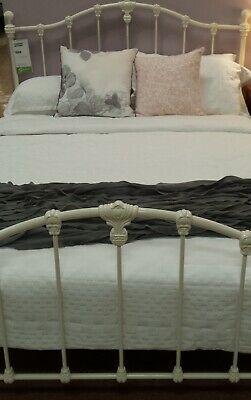 """King single bed frame antique white """"claremont""""cast iron Adairs comes with slats"""