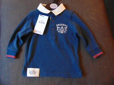 M&S 100%Cotton L/Sleeve Collared Rugby Shirt Style Top 3-6mth 69cm Navy Mix BNWT