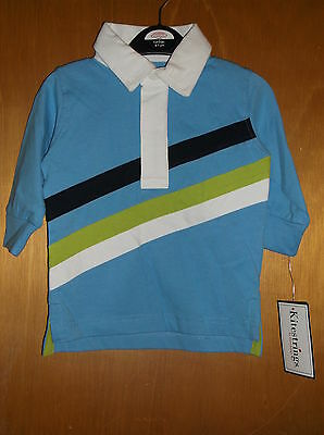 Kitestrings by Hartstrings Collared L/S Rugby Shirt 12mths 80cm Blue Mix BNWT