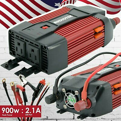300W Dual DC 12V to 110V AC Outlets Power Inverter Car Adapter 2 USB Port 4.2A S