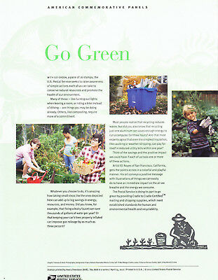 USPS Commemorative Panel 868 #4524 Go Green Environment Conservation Sheet/12
