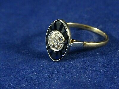 Stunning Art Deco 18ct Marquise Diamond & Sapphire Ring Size P 1/2 French Eagle