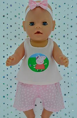 "Play n Wear Doll Clothes To Fit 17"" Baby Born BUTTERFLY PANTS~TOP~HEADBAND"