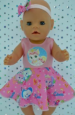 """Play n Wear Doll Clothes To Fit 17"""" Baby Born PINK CIRCLE DRESS~HEADBAND"""