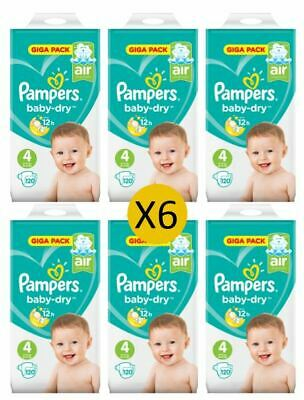 Pampers Couches Baby Dry Taille 4 Maxi Giga 9-14 kg (6 x 120)