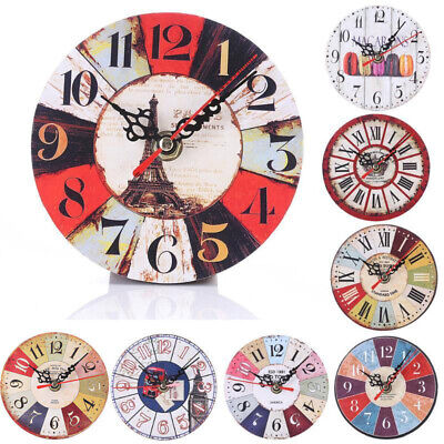 NEW Large Round Wooden Wall Clock Vintage Retro Antique Distressed Chic