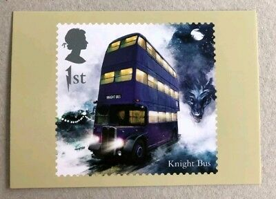 Harry Potter Knight Bus Royal Mail Stamp Postcard Brand New