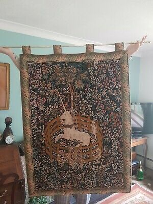 Large Vintage Wall Hung Tapestry On Pole  floral unicorn