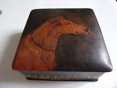 VINTAGE Art Deco Italian genuine leather COLLIE DOG hunting HOUND  sewing BOX