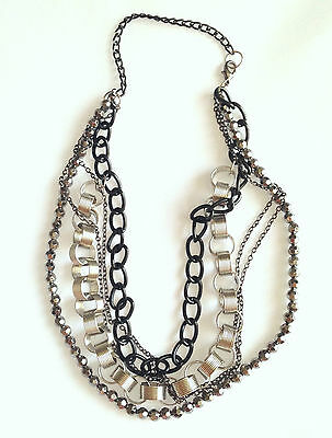 Unusual Stylish Punk Look 5 Strands Chunky Chain Necklace Black & Silver