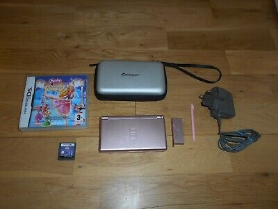 Metallic Rose Ds Lite Console & Official Nintendo Charger & Game & Case  Bundle