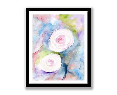 """/""""WATER COLOUR ROSES/""""  PRINTED  FABRIC SHEET..HAIR BOWS GLITTER MIX /& MATCH"""