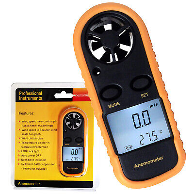 Digital Anemometer Thermometer Airflow Measurement Wind Scale Meter Bar Graph