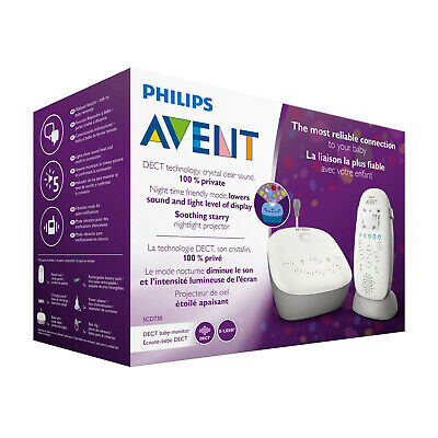 Philips Avent Dect Audio Baby Monitor with Starry Night Projector | SCD730/86