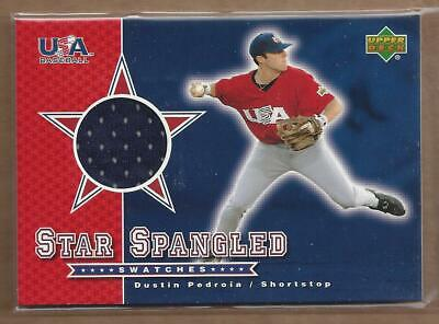 2003 Upper Deck Star-Spangled Swatches #DP Dustin Pedroia Jersey