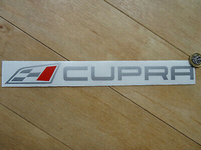 """CUPRA Flag & Text Side Boot Decal / Sticker - Silver Red - (300mm 12"""") Fits SEAT"""