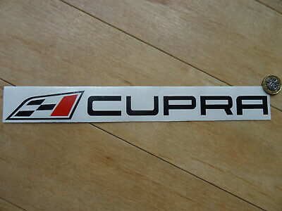 """CUPRA Flag & Text Side Boot Decal / Sticker - Black Red - (300mm 12"""") Fits SEAT"""