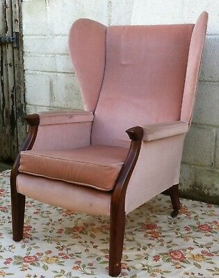 Edwardian High Back Wing Armchair Dusty Pink Vintage