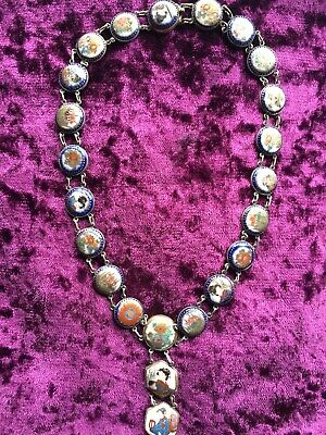 Necklace Japanese Satsuma 19th Century Meiji Laid In Silver