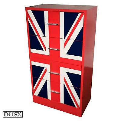 Vintage Retro Union Jack 4 Drawer Modern Handles Bedroom Chest of Drawers