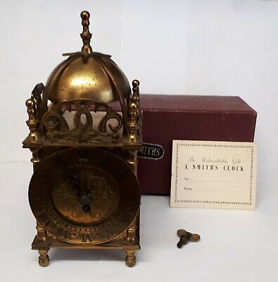 Vintage Small Smiths 8 Day Key Brass Lantern  Wind Up Clock Working Order.
