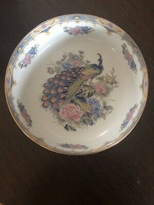 Vintage Imari Japanese Peacock Design Porcelain Bowl Blue White Gold Peonies 104