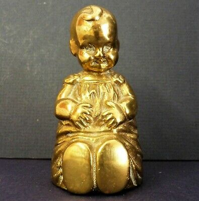 Solid Brass Vintage Table Bell Small Baby Toddler Figurine Lady Nursery Rare