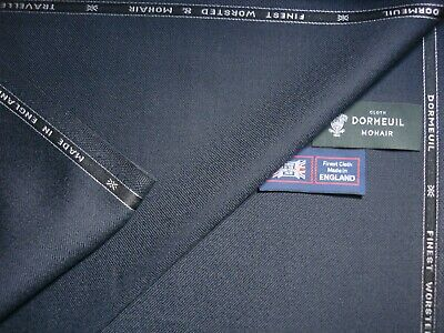 DORMEUIL /'MYSTIC MOHAIR/'  WOOL//MOHAIR SUITING FABRIC BLUE//NAVY SELFSTRIPE 3.5M
