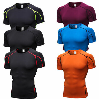 Men's Sport Gym Running Fitness Shirts Breathable Anti-odor Tight fit Copression
