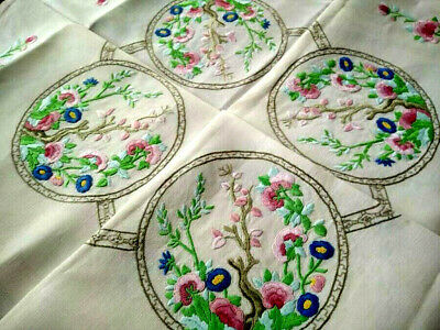 """""""Fairistytch"""" 'Indian Tree'- 'Tree of Life' -Vintage Hand Embroidered Tablecloth"""