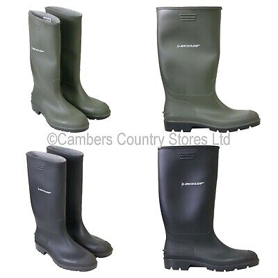 NEW Mens Ladies Dunlop Wellington Boots Wellies All Sizes 3 - 13 Green Or Black