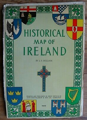 Historical Map Of Ireland. Wallchart. John Bartholomew (Publisher). L.g. Bullock