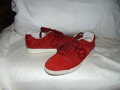 77a5436ea Gucci GG Logo Red Suede & Patent Leather Low Sneaker Shoe Sz 9 G US 10
