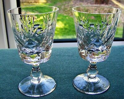 Pair Of Royal Brierley Cut Glass Crystal Sherry / Port Glasses