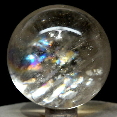 "2"" Rainbow Smoky Quartz Sphere Translucent Natural Sparkling Mineral Stone India"