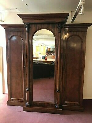 Outstanding Quality Antique Victorian Mahogany Breakfront Mirror Door Wardrobe