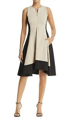 d9e807eedbe DKNY Color Block Zip Front Fit and Flare shift Dress SIZE XL NWT MSRP  145