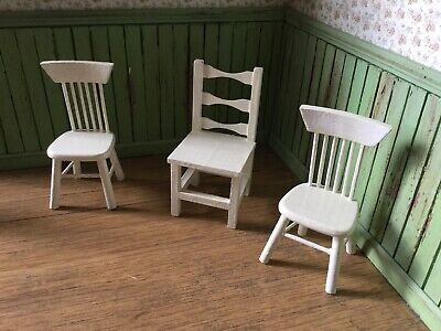 3 x White 1:12 Scale Chairs