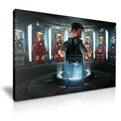 Lego Avengers Iron Man Stretched Canvas ~ More Size