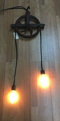Antique Barn Pulley Light Steampunk Rustic Industrial Light