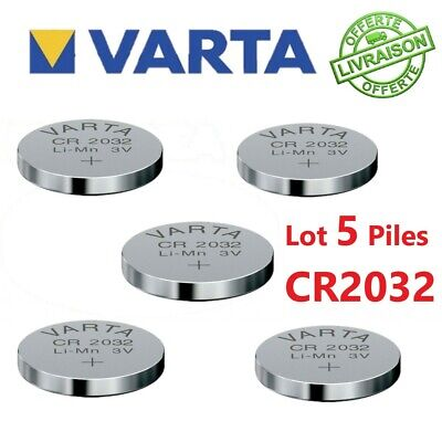 Lot 5 Piles Bouton VARTA CR2032 Lithium 3V plate Ronde électronique 0 Mercure