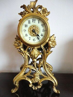 "Rare mini gilt clock, Art Nouveau. Serviced, c 1890 - All original. 1 3/4"" dial!"