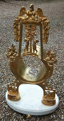 Antique French Empire Ormolu And White Marble Clock Case For 108 Mm. Movement