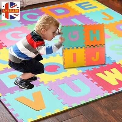 9 or 36 Piece Alphabet and Numbers Foam Puzzle Play Mat Kids Floor Jigsaw Toy