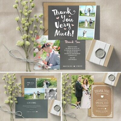 Personalised Photo Wedding Thank You cards inc Envelopes + Double sided Postcard