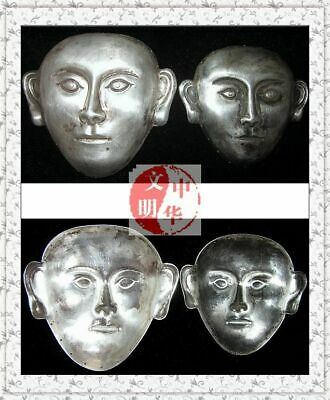 "Liao Kingdom Khitay Noble Couple Tomb Site Head Face Pendant Silver Mask面具3""Pair"