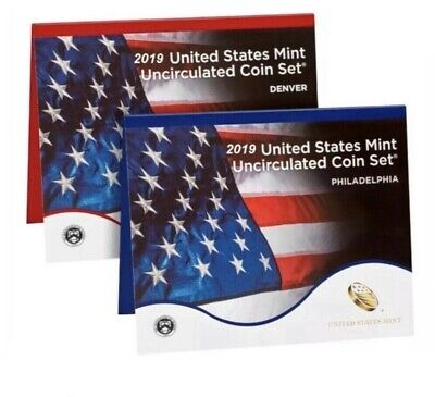 FREE SHIP 2019 P-D 20-Coin Annual Uncirculated Coin Set (19RJ)