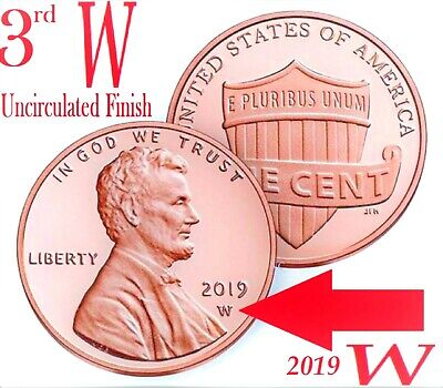 2019 3rd W West Point Premium Uncirculated Finish Lincoln Shield Cent Penny Coin